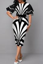 White Casual Print Flounce O Neck Pencil Skirt Dresses