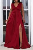 Red Fashion Sexy Plus Size Solid Slit V Neck Sleeveless Evening Dress