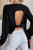 Black Fashion Casual Solid Hollowed Out Strap Design O Neck Tops Sweater