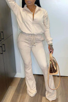 Apricot Casual Solid Zipper Turndown Collar Long Sleeve Two Pieces