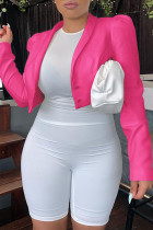 Pink Fashion Casual Solid Cardigan Turn-back Collar Outerwear