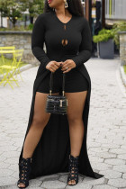 Black Fashion Casual Solid Hollowed Out Slit O Neck Long Sleeve Two Pieces