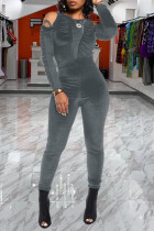 Grey Casual Solid Split Joint Fold O Neck Skinny Jumpsuits