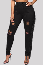 Black Fashion Casual Solid Tassel Ripped High Waist Regular Denim Jeans