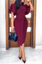 Burgundy Work Elegant Solid Split Joint O Neck One Step Skirt Dresses