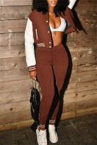 Brown Fashion Casual Patchwork Cardigan Pants Long Sleeve Two Pieces