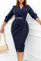 Deep Blue Fashion Casual Solid With Belt V Neck Pencil Skirt Dresses