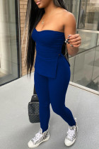 Dark Blue Sexy Casual Solid Backless Slit Strapless Sleeveless Two Pieces