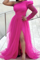 Rose Red Fashion Sexy Solid Backless Slit Oblique Collar Long Sleeve Plus Size Dresses