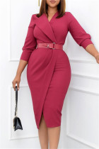 Red Fashion Casual Solid With Belt V Neck Pencil Skirt Dresses