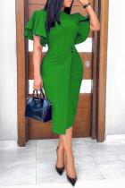 Green Work Elegant Solid Split Joint O Neck One Step Skirt Dresses