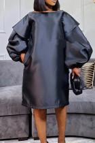 Black Fashion Casual Solid Basic O Neck Long Sleeve Dresses