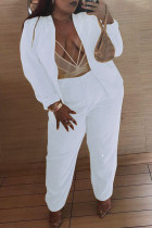 White Fashion Casual Solid Cardigan Pants Plus Size Two Pieces