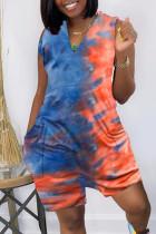 Blue Fashion Casual Print Tie Dye Pocket V Neck Regular Sleeveless Romper