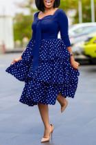 Tibetan Blue Sweet Celebrities Print Polka Dot Split Joint Flounce Square Collar Cake Skirt Dresses