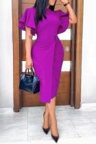 Purple Work Elegant Solid Split Joint O Neck One Step Skirt Dresses