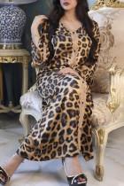 Leopard Print Sexy Print Leopard Split Joint V Neck Straight Dresses