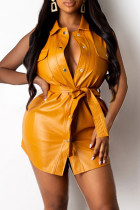 Yellow Fashion Casual Solid With Belt Turndown Collar Sleeveless Dress