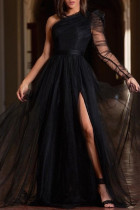 Black Fashion Sexy Solid Backless Slit Oblique Collar Long Sleeve Plus Size Dresses