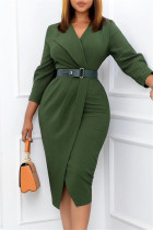 Green Fashion Casual Solid With Belt V Neck Pencil Skirt Dresses