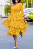 Yellow Sweet Celebrities Print Polka Dot Split Joint Flounce Square Collar Cake Skirt Dresses