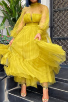 Yellow Sweet Elegant Solid Split Joint See-through O Neck A Line Dresses