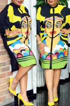 Yellow Black Casual Street Print Split Joint O Neck Straight Plus Size Dresses