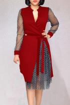Red Casual Work Print Polka Dot Split Joint Asymmetrical V Neck A Line Dresses