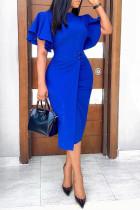 Blue Work Elegant Solid Split Joint O Neck One Step Skirt Dresses