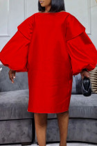 Red Fashion Casual Solid Basic O Neck Long Sleeve Dresses