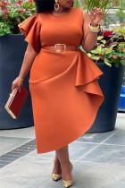 Orange Fashion Casual Plus Size Solid Split Joint O Neck Irregular Dress (Without Belt )