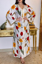 White Casual Elegant Print Split Joint V Neck Straight Dresses