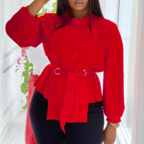Red Casual Solid Bandage Split Joint With Belt O Neck Plus Size Tops