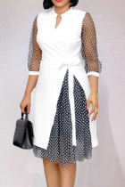 White Casual Work Print Polka Dot Split Joint Asymmetrical V Neck A Line Dresses