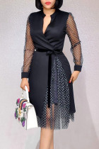 Black Casual Work Print Polka Dot Split Joint Asymmetrical V Neck A Line Dresses