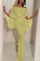 Gold Fashion Sexy Solid Split Joint Slit Off the Shoulder Evening Dress
