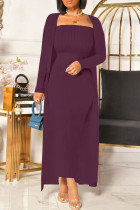 Burgundy Fashion Casual Solid Cardigan Long Sleeve Two Pieces
