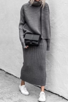 Grey Casual Solid Split Joint Turtleneck Long Sleeve Two Pieces