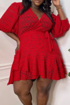 Red Sexy Solid Bandage Hollowed Out See-through V Neck Long Sleeve Plus Size Dresses