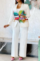 White Fashion Casual Print Cardigan Pants Turndown Collar Long Sleeve Two Pieces (Without Belt)