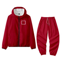 Red Square Squid Game Casual Sportswear Print Split Joint Mandarin Collar Long Sleeve Two Pieces