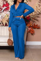 Peacock Blue Casual Solid Split Joint Turndown Collar Long Sleeve Two Pieces