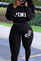 Black Fashion Casual Letter Embroidered O Neck Three Quarter Two Pieces