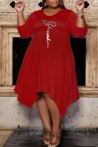 Red Casual Print Split Joint Asymmetrical O Neck A Line Plus Size Dresses