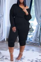 Black Fashion Casual Solid Pocket Oblique Collar Regular Jumpsuits
