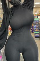 Black Fashion Casual Solid Basic Half A Turtleneck Skinny Jumpsuits