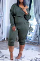Army Green Fashion Casual Solid Pocket Oblique Collar Regular Jumpsuits