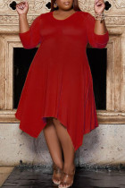 Red Casual Solid Split Joint Asymmetrical O Neck A Line Plus Size Dresses