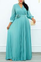 Blue Casual Elegant Solid Split Joint Fold With Belt V Neck Straight Dresses