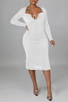White Sexy Solid Split Joint Frenulum Backless Asymmetrical Collar One Step Skirt Dresses